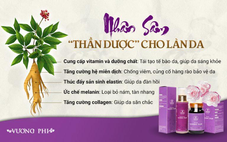 Một số tác dụng củ nhân sâm có trong Bộ sản phẩm Nám - Tàn nhang Vương Phi