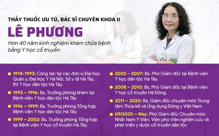 Bác sĩ Lê Phương là chuyên gia uy tín hàng đầu trong lĩnh vực chăm sóc da liễu bằng thảo dược tự nhiên tại Việt Nam